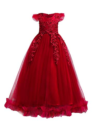 Tie Back Floor - YaYa Bay Pageant Dresses for Girls, Tulle Flower Girl Dress Flowy Hem Special Occasion 3D Floral Embroidery A-line Vintage Bow Tie Floor Length Summer Evening Gown to Wear Red Size (150) 9-10 Years