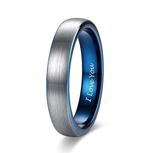 (Shuremaster 4mm Mens Womens Tungsten Ring Blue Two Tone Engraved I Love You Wedding Band Thin Brushed Comfort Fit Size 5)
