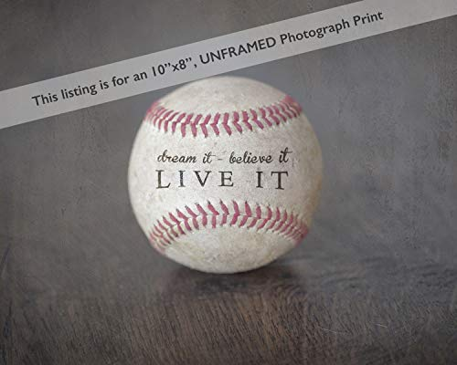 Inspirational Sports Quote Print Photo (8x10) Unframed - Great Baseball Gift for Boy's Room Decor