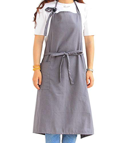 Chef Cooking Apron for Men & Women - Extra Long Waist Ties, Adjustable Neck Strap, Plus Size, 1 Pocket, Cotton Fabric, Japanese Style (Plain Grey)