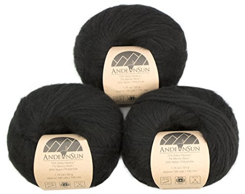 ca Merino Wool Yarn Weight Category #4 Worsted, Aran, Afghan, Medium -Set of 3 Skeins 150 Grams Total- Luxuriously and Caring Soft ()