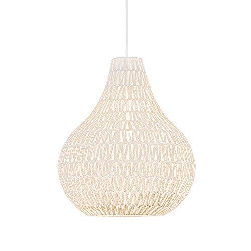 QAZQA Design Modern Esstisch Esszimmer Pendelleuchte Pendellampe Hängelampe Lampe Leuchte Lina Drop 45 weiß Innenbeleuchtung Wohnzimmerlampe Schlafzimmer Küche Metall Textil Rund