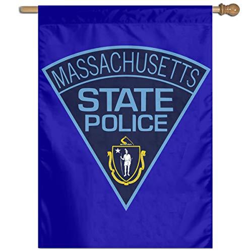 TYZBAOOSDUP Massachusetts State Police House Flag Decorative Garden Flag Yard Banner Garden Flags 27x37]()