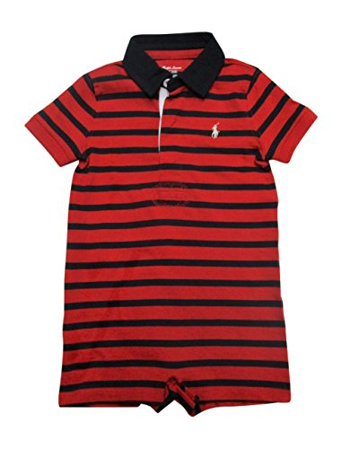 RALPH LAUREN Baby Boys Striped Cotton Rugby Shortall (Red/Hunter Navy, 12 (Ralph Lauren Striped Romper)