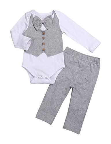 Newborn Baby Boy Clothes Gentleman Outfits Long Sleeve Romper Bowtie Tuxedo Suit 0-3 Months Gray