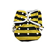 BB2 Baby One Size Printed White Gussets Snaps Cloth Diaper Cover for Prefolds (One Size, Yellow & Black Stripes)