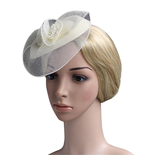 - Fascinators for Women,Feather Fascinators Womens Flower Derby Hat for Cocktail Ball Wedding Church Tea Party (7.9'', Beige)