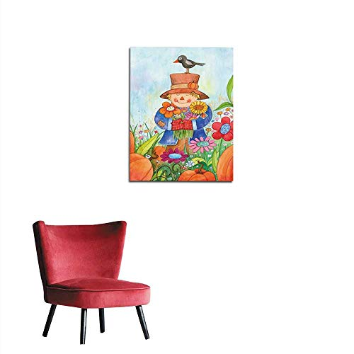 (longbuyer Art Decor Decals Stickers Scarecrow with Flowers Mural 16