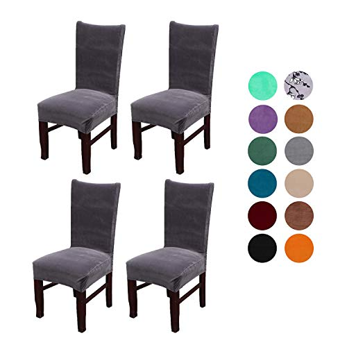 Velvet Spandex Stretch Dining Room Chair Cover, Removable Chair Slipcovers Set of 4(dark gray)