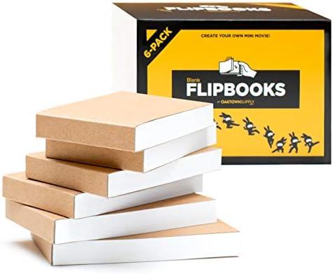 空白フリップブック(フリップブック) アニメ、スケッチ、漫画制作用 - 6パック、4.5インチ x 2.5インチ、180ページ (90枚) :厚手、にじまない描画用紙、縫製バインディング付き: 楽しくクリエイティブなクラフト。