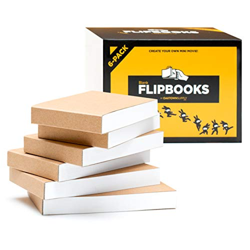 Blank Flipbooks (Flip Book) for Animation, Sketching, and Cartoon Creation, 6 Pack, 4.5