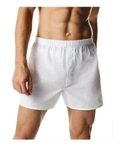 Hanes Poly Cotton Boxers 3-Pack, White, Med