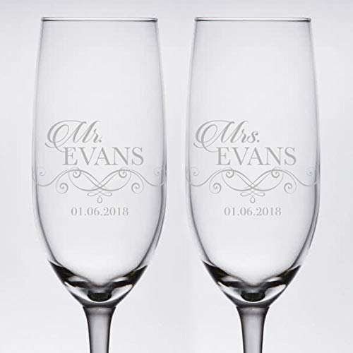 Pair of Clear Etched Personalized Wedding Toasting Champagne Flutes -