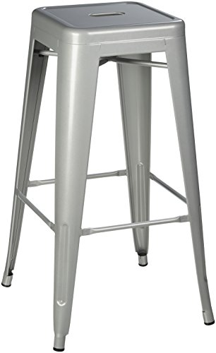 Pioneer Square Haley 30-Inch Backless Square-Seated Metal Bar Stool, Set of 4 - Silver