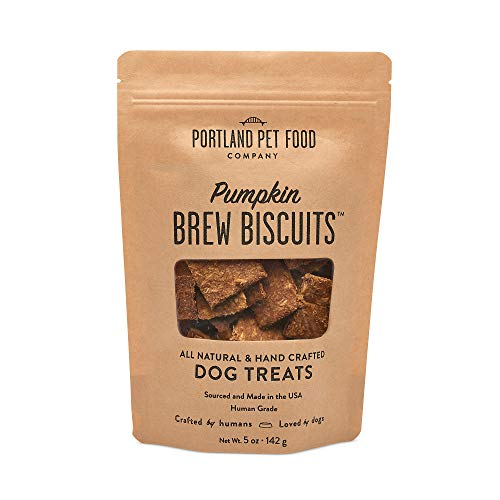 Portland Pet Food Company Pumpkin Brew Biscuit Dog Treats, All Natural, Human-Grade, USA Sourced and Made, 1 Pack (5oz)
