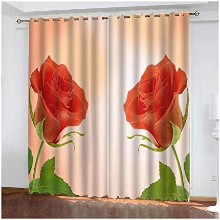 Amody Tende Oscuranti Soggiorno Moderne, Tenda per Sala Moderna Fiore di Rosa Tende Rosso Tende Camera da Letto 2 Pezzi 264x244CM