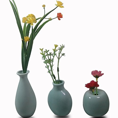 CRH600 3 Mini Little Buddies Ceramic Bud Vases for Flowers, Plants Floral Decor, Vintage Collectible Vases, Vintage Porcelain (Light Blue)