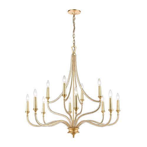 (Elk Lighting 11178/12 La Rochelle 12-Light Parisian Gold Leaf Chandelier)