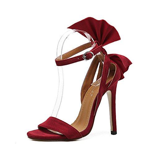 RUGAI-UE Sandalias de tacón alto, show de verano, dedos de los pies, terciopelo, hebillas, sandalias, sandalias, etc. gules