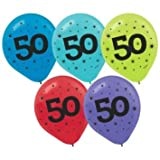"""50"" Printed 12in Balloon Assortment 15ct"