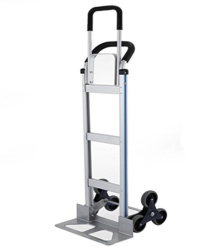 BLTPress VD-33862TL 550LBS Capacity Aluminum Heavy Duty Stair Climber Hand Truck Dolly Assisted Utility Cart with Flat Free Wheels, Ultrasonic Pest Repeller v. 11, Silver