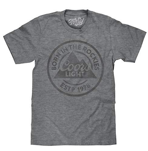 Coors Light T-Shirt - Born in The Rockies Coors Beer Shirt (Graphite) (Small)
