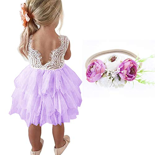(MY-PRETTYGS Girl Sleevless Beaded Peony Lace Tutu Dress,Backless Design Flower Dress with Wreath Headband (B-Purple, 12Month))
