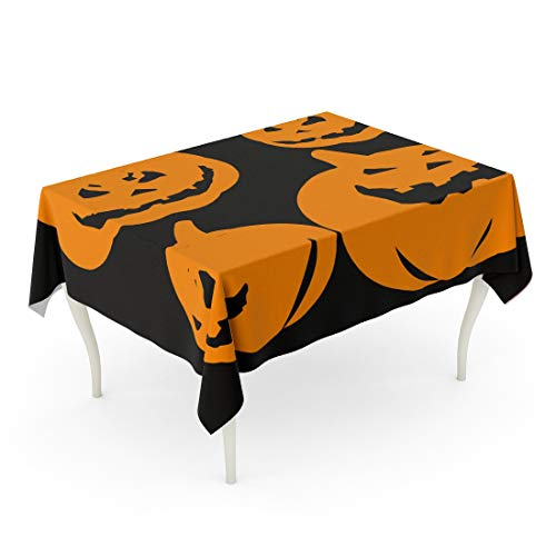 Tarolo Rectangle Tablecloth 60 x 84 Inch Jack Pumpkin Halloween Lantern Candle Carving Creepy Cutout Table Cloth