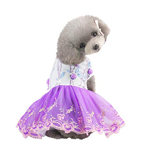 Pathside Pet Dog Bottoming Music Symbol Print Dress Clothes cat lace Breathable Dress Embroidery Hair Ball Silk Skirt (XL, Purple)