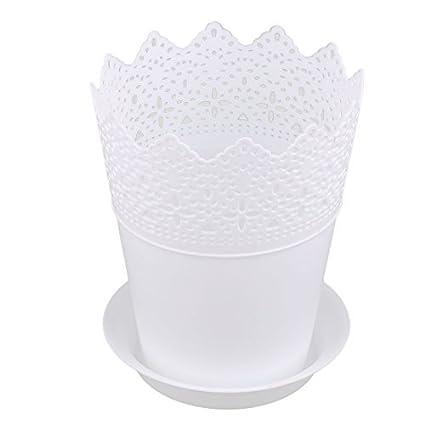 Amazon.com: DealMux plástico oco para fora projeta Decor Tabela Planta Container Plantar Vaso de Flor, bandeja branca: Home & Kitchen