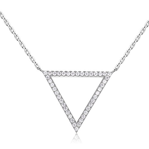 Golden Ribbon 925 Sterling Silver Women Lucky Triangle Pendant Necklace Jewelry Gift -