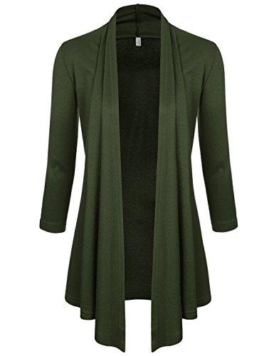NEARKIN (NKNKWCD6937) Womens Open Front Slim Cut Look 3/4 Sleeve City Casual Cardigans KHAKI US S(Tag size M)
