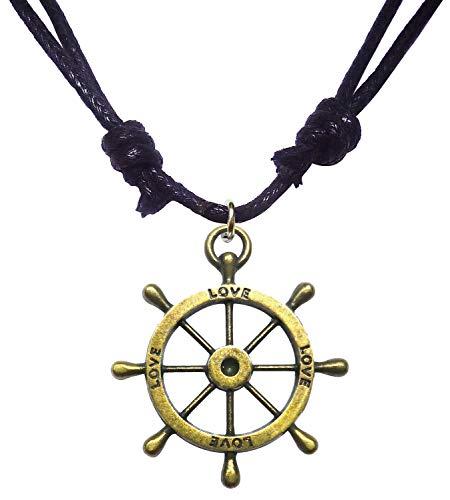 - Bijoux De Ja Antique Bronze Nautical Steering Wheel Pendant Adjustable Cord Necklace