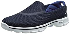 Comfort and athletic appeal is what will make you fall in love with the Go Walk 3 slip-on shoe from SKECHERS® Performance. SKECHERS® Performance FitKnit mesh fabric upper.   Slip-on construction, super light-weight design. Side S brand logo....