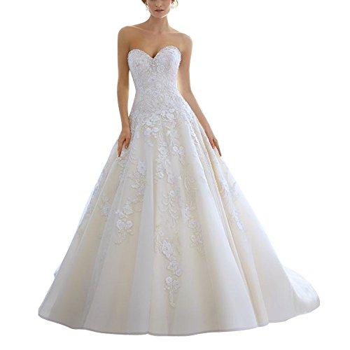 Line Sweetheart Sicken Kleider Weiß Applikationen abaowedding Spitze Hochzeit A Kristall Iwq6IX5
