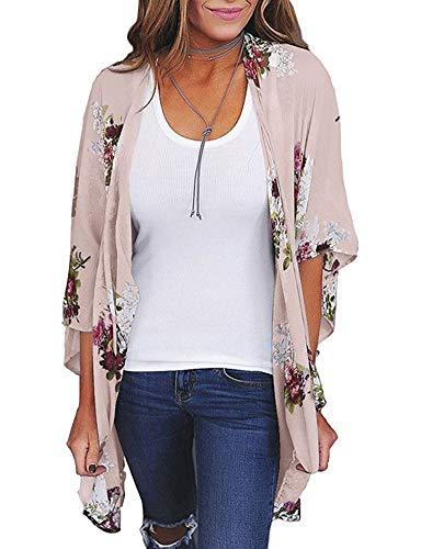 - Relipop Women's Sheer Chiffon Blouse Loose Tops Kimono Floral Print Cardigan