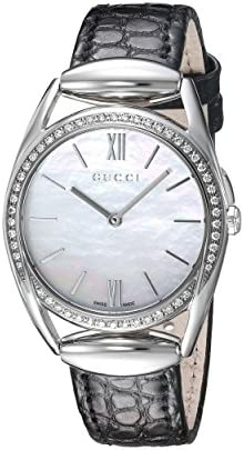 86d37e2d2c7 Gucci Horsebit Quartz Stainless Steel and Leather Black Women s Watch(Model   YA140506)