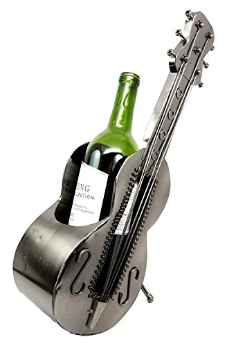 """Atlantic Collectibles Acoustic Guitar On Stand Hand Made Metal Wine Bottle Holder Caddy Decor Figurine 14.5""""H"""