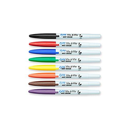 EXPO 16078 Marcadores de transparencia de borrado en húmedo Vis-A-Vis, punta fina, colores surtidos, 8 unidades