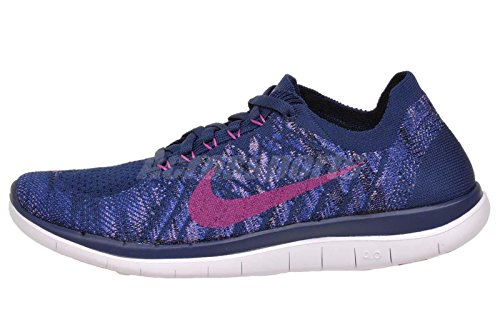 Nike Womens Free 4.0 Flyknit Running Shoes Brave Blue/Fuchsia Glow/Game Royal Color (6)