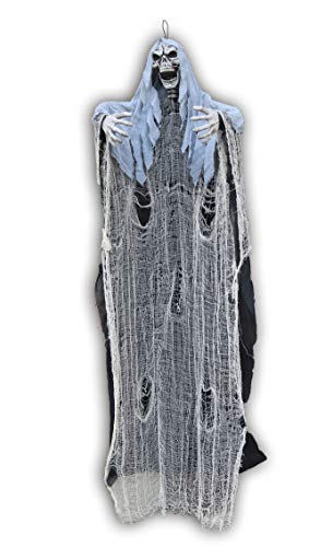Super Halloween Creepy Hanging Skeleton. With Spider Web Cloth, Black Robe Body And Sack Cloth On Skull, Creepy Yard Display, Horror Evoking, Very Authentic Looking, 78 inches, By 4E's Novelty