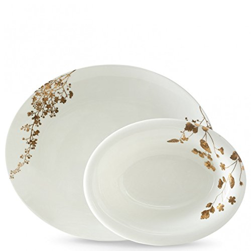 - Wedgwood 40033721 Vera Jardin Open Vegetable Bowl and Oval Platter, 2 Piece, White and Gold