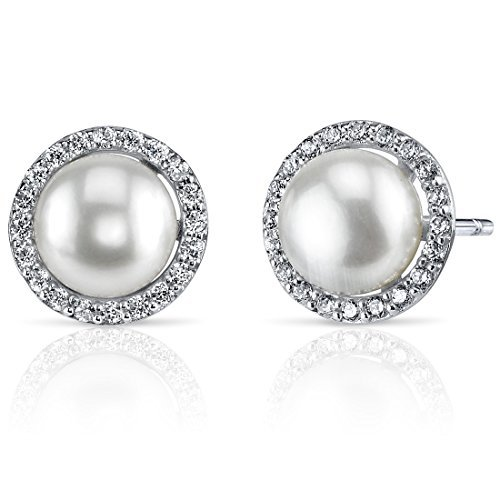 Circle of Life 7.5mm Freshwater Cultured Pearl Earrings in Sterling Silver by Peora