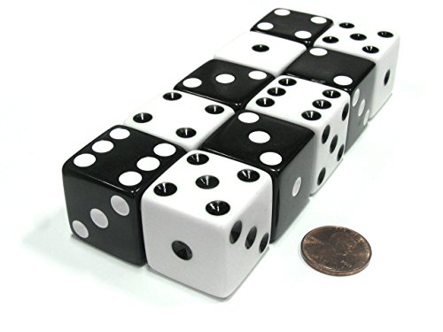 Set of 10 Inverse D6 25mm Large Opaque Jumbo Dice - 5 Each of White and Black