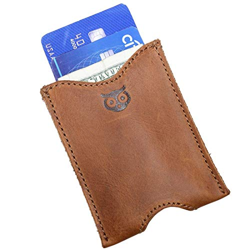 Rustic Leather Pocket Sleeve Wallet Card Holder Handmade by Hide & Drink :: Single Malt Mahogany ()