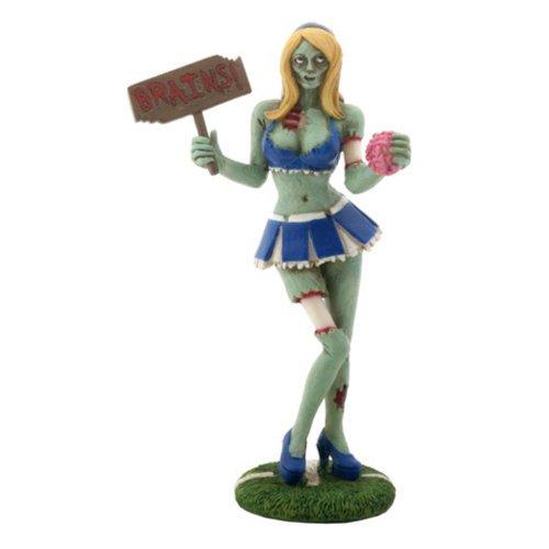 Green Zombie Cheerleader with Brains Figurine (Figurine Cheerleader)