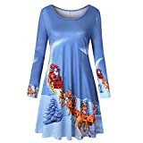 Knit Swing Dress for Women Women Long Sleeve Vintage Xmas Christmas Printing Round Neck Party Dress Blue XL