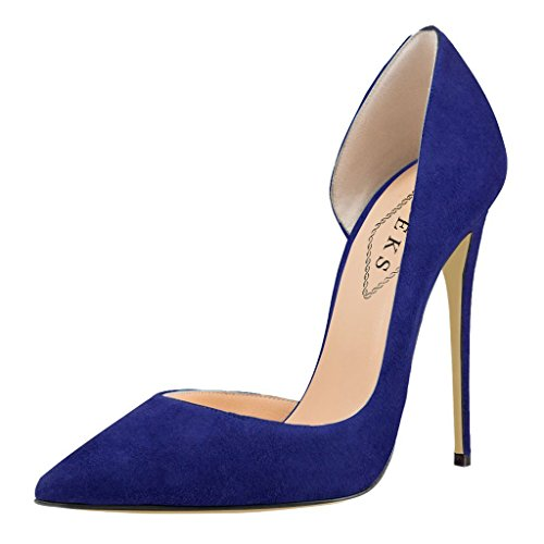 EKS Damen Stilett Spitze Partei Pumps High Heels Blau-Wildleder