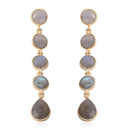 Dangle Drop Earrings 925 Sterling Silver Vermeil Yellow Gold Pear Labradorite Gift Jewelry for Women - Gold Labradorite Earrings