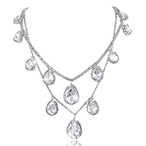 EVER FAITH Bridal Silver-Tone 2 Layers Teardrop Clear Austrian Crystal Necklace